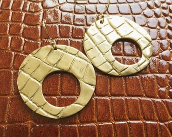 ALLIGATOR SKIN HOOP earrings
