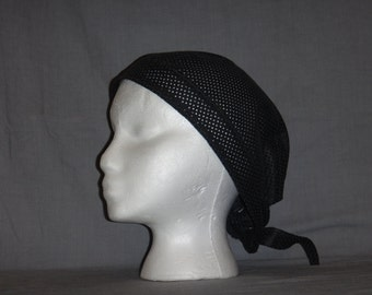 Leather Scull Cap Black Perforated Leather Adjustable
