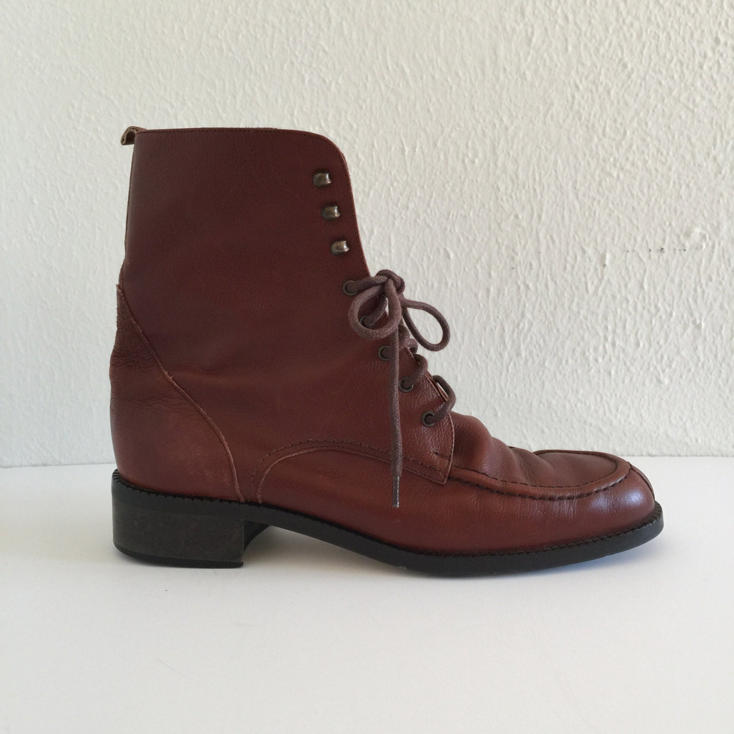 Vintage 90s Boots / 1990s Brown Leather Boots / Steve Madden |1990s Womens Boots