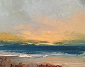 "Yellow Sky Beach  - Beach Painting- 8 x 10- Minimalist Beach Painting- Original Oil Painting- 3/4"" thick painted edge"