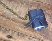 """Something Blue Mini Book necklace by Binding Bee / Nickle Free 18"""" chain/ Gift box"""