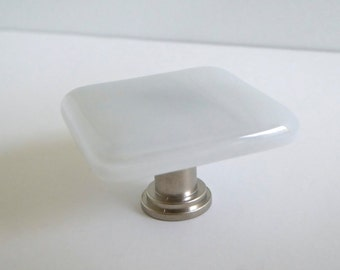Decorative Streaky White Fused Glass Cabinet Door Knob by BPRDesigns