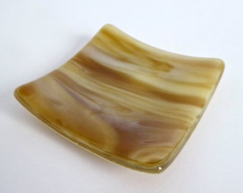 Fused Glass Ring Dish in Caramel and Cream Streaky Glass by BPRDesigns