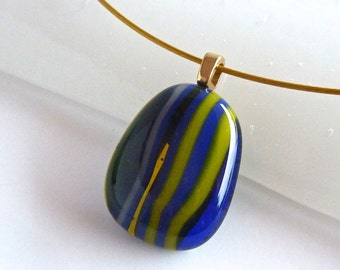 Layered Blue and Yellow Fused Glass Pendant
