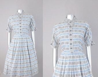 Madge Owens novelty print dress | vintage 1950s dress | 50s cotton day dress