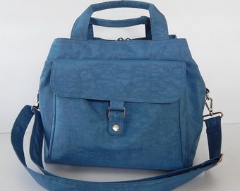 Sale - Water Resistant Nylon Bag in Dark Sky Blue - Messenger, Diaper, Tote, Purse, 3 compartments, Cross body - GINA