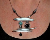Statement necklace, abstract pendant, gift ideas, onyx, silver and turquoise asymmetriclal necklace, Funky metal jewelry