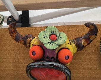 Cow Skull, wall hanging, ceramic head