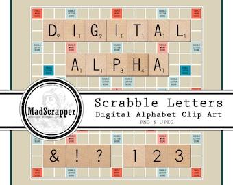 Digital Alphabet Scrabble Tiles Digital Clip Art Letters