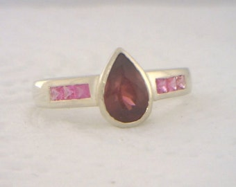 Rhodolite Garnet and Pink Sapphire Handmade Sterling Silver Ladies Ring size 8