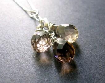 Smoky Quartz Necklace, Trio Necklace, Briolette Necklace, Sterling Silver Necklace