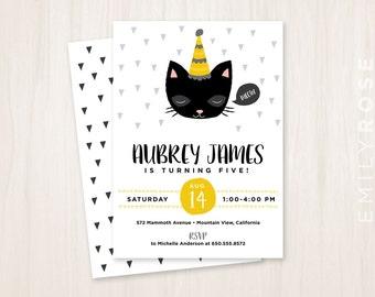 Kitty Cat Birthday Party Invitation Printable PDF   Birthday Invite   Yellow and Gray   Customized   Digital Download