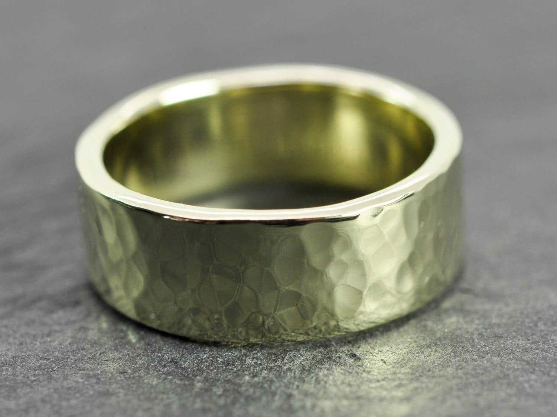 14k green gold mens wedding band hammered gold ring 8mm. Black Bedroom Furniture Sets. Home Design Ideas