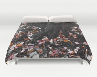 Autumn Leaves Duvet Cover, Tree Bedding, Nature Bedding, Wood Bedspread, Decorative, Unique Design, Comforter Cover, Bedroom, Fall Bedding