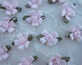 12 pc Baby Pink Satin Ribbon Fabric Flower Rose Bud Applique Shabby Chic Doll Bow