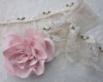 Vintage Like HAND DYED Antique Tan Pleated Tulle Lace w Satin Rose Bud Flower Ribbon Trim Doll Baby Clothing