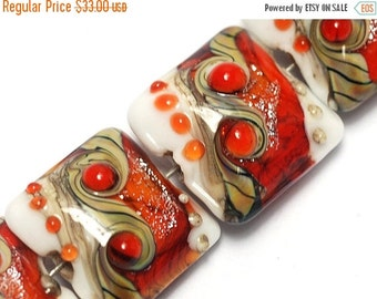 ON SALE 50% OFF Four Fire Red Stardust Pillow Beads - Handmade Glass Lampwork Bead Sets 10705614