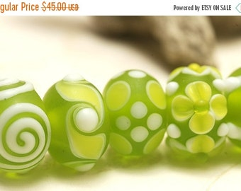 ON SALE 50% OFF Handmade Glass Lampwork Bead Sets - Seven Matte-Finished Green Rondelle Beads - 10500401