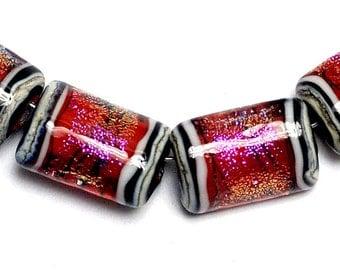 Glass Lampwork Bead Set - 10706703 Six Passion Pink Shimmer Mini Kalera Beads