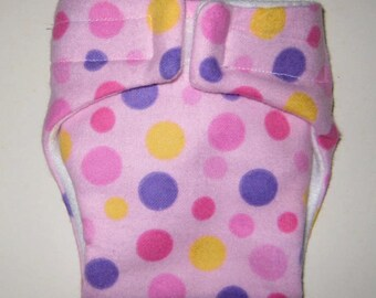 Baby Doll Diaper/Wipe-Big Poka Dots-Fits Bitty Baby, Baby Alive, Cabbage Patch Dolls and More