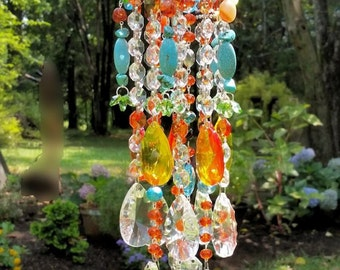 Sunny Days Antique Crystal Wind Chime, Fire Orange and Turquoise Crystal Wind Chime, Boho Wind Chime, Garden Decoration