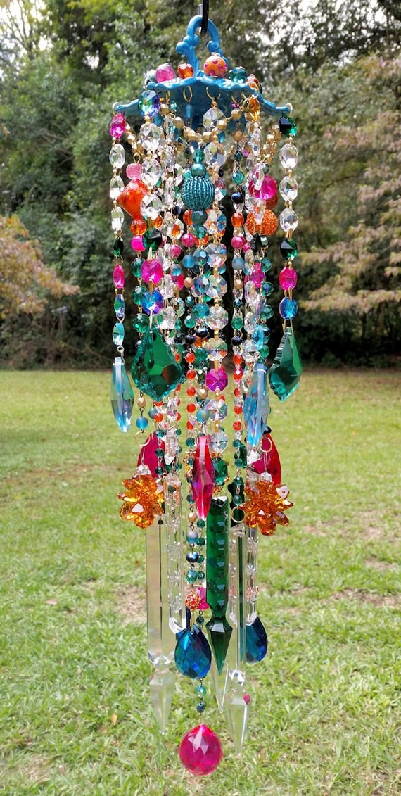 Crystal Wind Chime, Bohemian Wind Chime, Gypsy Wind Chime, Outdoor ... -   Bohemian Wind Chime