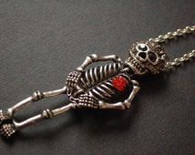silver tone dy of the dead skeleton necklace