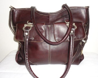 Ex large business tote bag carryall bag buttery  thick Colombian  leather  deep mahogany vintage 90s top zip dual strap N MINT condition