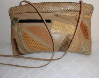 Bags by Varon calf leather and genuine snakeskin frame bag, clutch, purse shoulder bag , evening bag vintage 60s Gorgeous mint condition