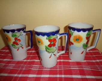 Beautiful Set of 3 Gold Trim Floral Japan Tall Dainty Cups Mugs