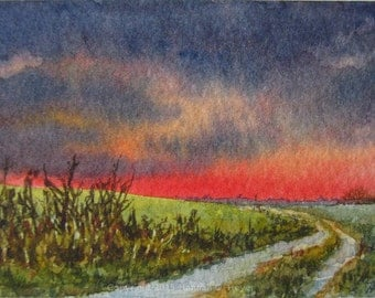 Clear to the West, original watercolour painting, ACEO