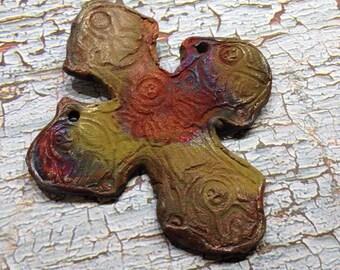 169. Viking Hoard Viking Cross Medallion Copper Moss Green Burgundy Raku Pendant Tile Cabochon