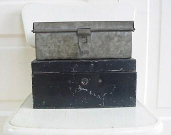 PAIR Vintage Metal Box, Black Box, Bank Boxes, Industrial Storage