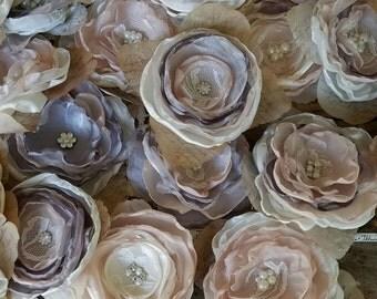 Wedding DIY Fabric flowers for Decorations or DIY Bouquet, Blush and Gray,Wedding Decor,Table Decor,Wedding Centerpiece, Craft supplies