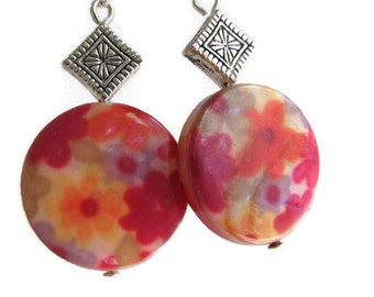 Pink Shell Earrings, Multicolored Mother of Pearl Earrings, Flowered Mother of Pearl, Hot Pink Yellow and Orange Flower Shell Earrings