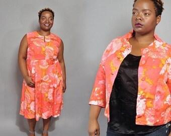 JULY SALE Plus Size Vintage Dress Suit // 1960's Handmade Dress & Jacket // XXL