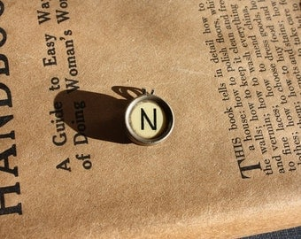 Letter N Vintage Typewriter Key Pendant on Ball Chain