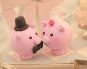 pig and piggy Wedding Cake Topper---k711