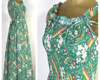 Vintage 1970s Sundress, Sleeveless Sun Dress, Vintage Midi Dress, 70s Bohemian Dress, Green Floral Dress, Adjustable Straps, Cinched Elastic