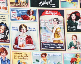 Vintage Kellogg's Ads Fabric By The Yard