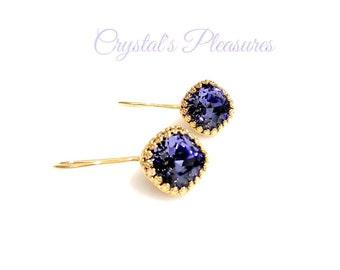 Gold  Crown Bezel Tanzanite Purple  Violet Swarovski Crystal  Element Earrings
