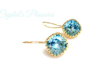 Gold Crown Bezel Crystal Aquamarine Blue Swarovski Crystal Element Earrings