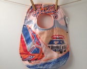 Dukes of Hazzard Baby Bib - Upcycled from Vintage Bed Sheets - Upcycled Baby Gift - Oversize Bib with Snaps