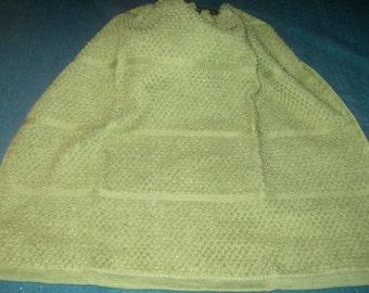 Crochet hanging towel, Olive green, dark green top