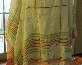 Free Size Summer Dress/ Re-worked Vintage Linens Art to Wear/ Sheerfab Funwear