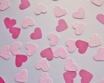 Light Pink Glitter Heart Confetti, Hot Pink Light Pink Shimmer Hearts, Table Scatter, Party Decoration, Bridal Shower Decor