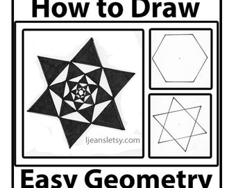 How to draw Easy Geometry 6 point Star, Hexagon, and Decreasing Star Tutorial