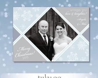 Argyle Snowflakes - Holiday Photo Card - PRINTABLE