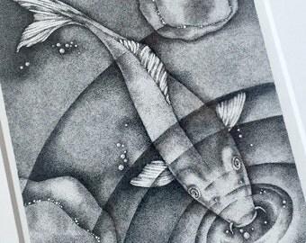 Koi Fish Original Drawing, Framed Koi Stipple Ink Drawing, Framed Original Art, Koi Fish Original Art, Framed Black and White Ink Drawing