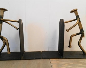 Vintage Mid Century Metal Scrap Sculpture Book Ends